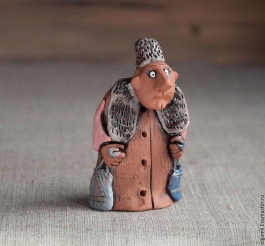 Куклы и игрушки ручной работы. Ярмарка Мастеров - ручная работа. Купить Тётушка. Handmade. Коричневый, статуэтка, Лепка, красная глина