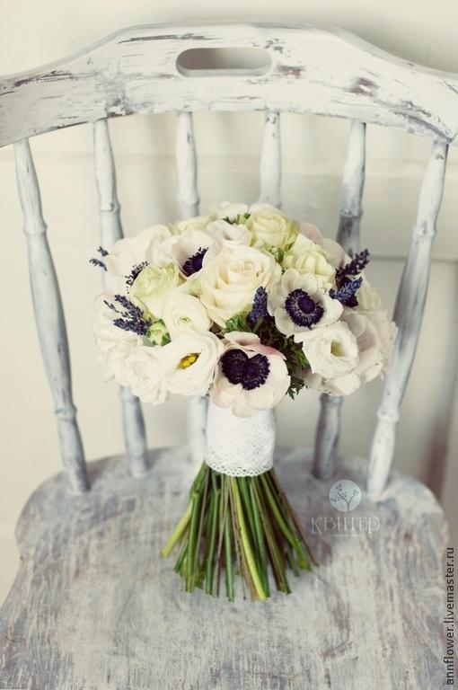 Свадебный букет невесты из живых цветов, флористика