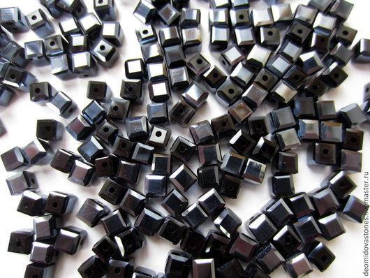Для украшений ручной работы. Ярмарка Мастеров - ручная работа. Купить Хрусталь, граненые бусины, форма - куб, 5 мм грань, гематитовый. Handmade.