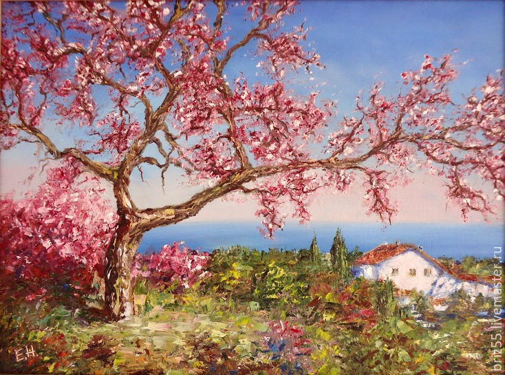 Oil painting cherry blossoms, Pictures, Zelenograd,  Фото №1