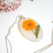 Украшения handmade. Livemaster - original item Yellow Wild Flower Pendant Botany Eco Decoration Resin 2. Handmade.