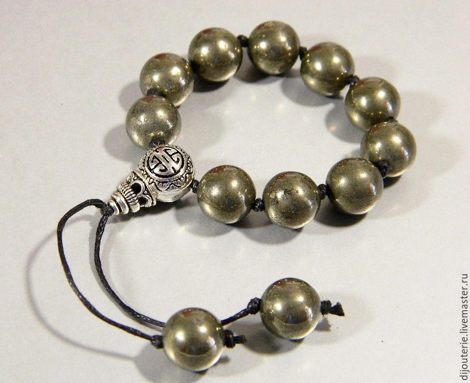 Rosary handmade. Livemaster - handmade. Buy Rosary earthy Pyrite natural.Dark gray, beads of pyrite