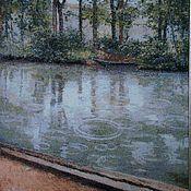 """Картины и панно ручной работы. Ярмарка Мастеров - ручная работа Вышитая картина """"Дождь над каналом"""". Handmade."""