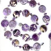 Украшения handmade. Livemaster - original item Long beads natural stones charoite and amethyst purple. Handmade.