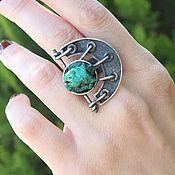 Украшения handmade. Livemaster - original item Ring with untreated malachite made of 925 silver ALS0020. Handmade.