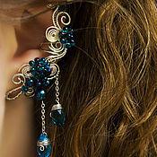 """Украшения ручной работы. Ярмарка Мастеров - ручная работа Кафф """"Калипсо"""" (голубой и бирюзовый цвет, серьги цвета морской волны). Handmade."""