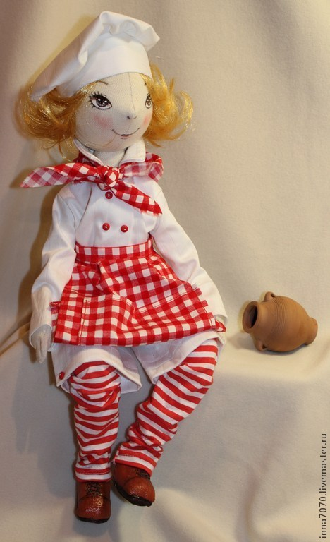Коллекционные куклы ручной работы. Ярмарка Мастеров - ручная работа. Купить Поваренок.. Handmade. Белый, повар, кухонная утварь, трессы