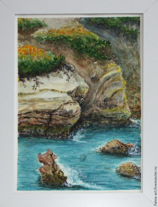 """Пейзаж ручной работы. Ярмарка Мастеров - ручная работа. Купить пейзаж акварель,  """"Кипр"""", пейзаж, картина акварелью, авторская работа. Handmade."""
