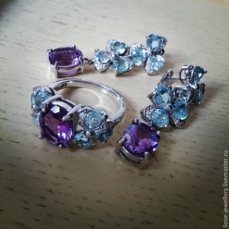 'Bridget' - a charming set with amethyst and Topaz, Jewelry Sets, Moscow,  Фото №1