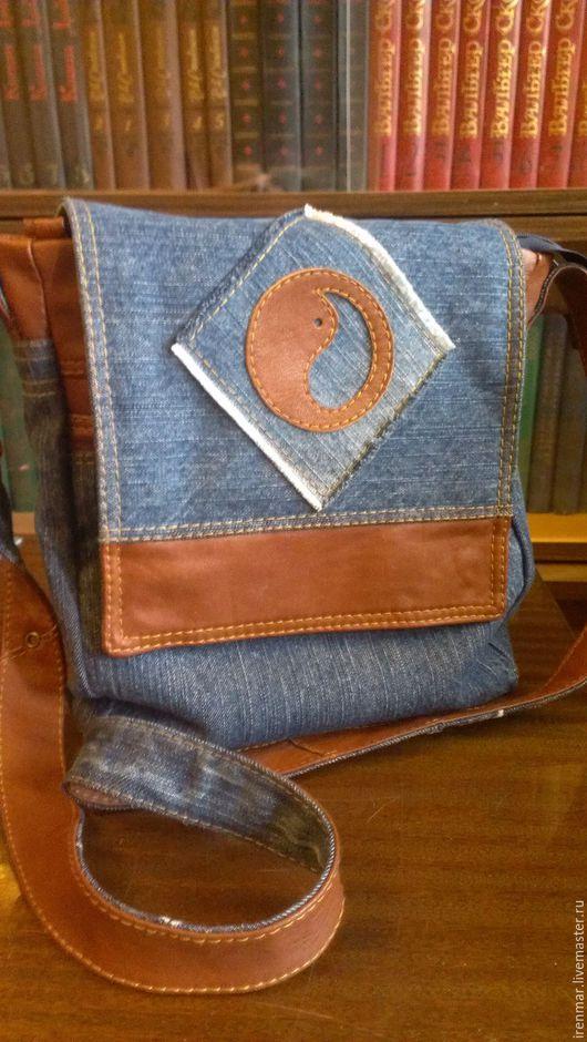 Женские сумки ручной работы. Ярмарка Мастеров - ручная работа. Купить Сумка женская джинсовая, кожаная. Handmade. Голубой