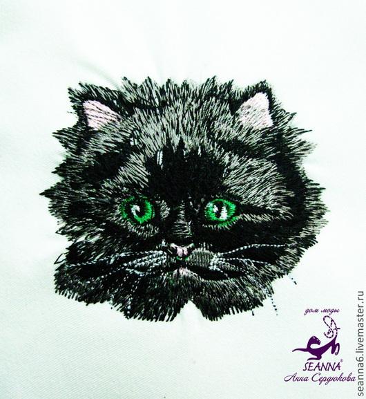 """Детская ручной работы. Ярмарка Мастеров - ручная работа. Купить Вышивка """"Черный персидский котенок"""" на любом Вашем изделии. Handmade."""
