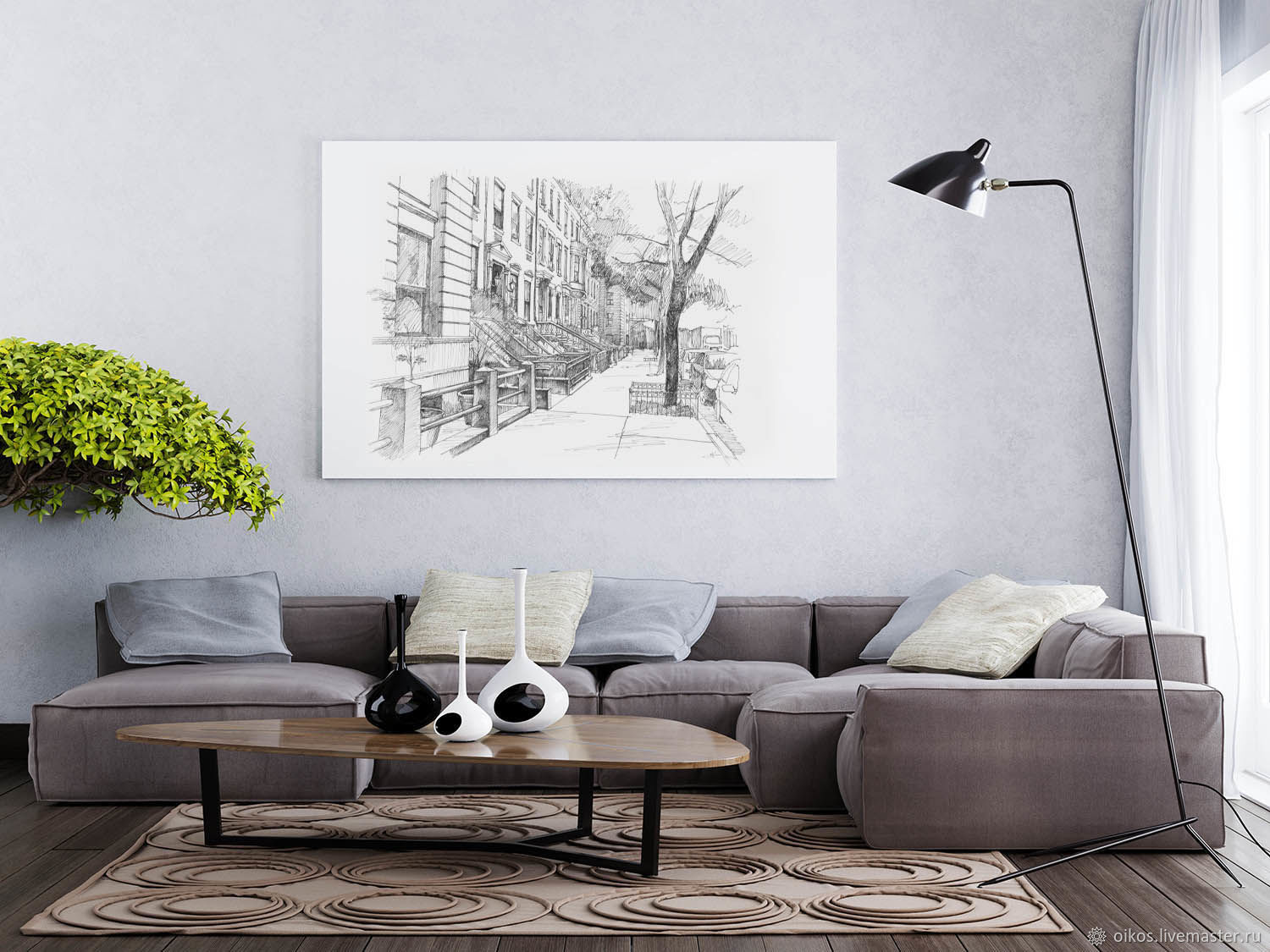 Custom painting a gift for a man February 23 city sketch with a street, Pictures, St. Petersburg,  Фото №1