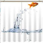 """Дизайн и реклама ручной работы. Ярмарка Мастеров - ручная работа Комплект штор """"Золотая рыбка"""" с фотопечатью. Handmade."""