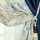 """Текстиль, ковры ручной работы. Ярмарка Мастеров - ручная работа. Купить Шторы  """"Катерина"""". Handmade. Голубой, занавес"""
