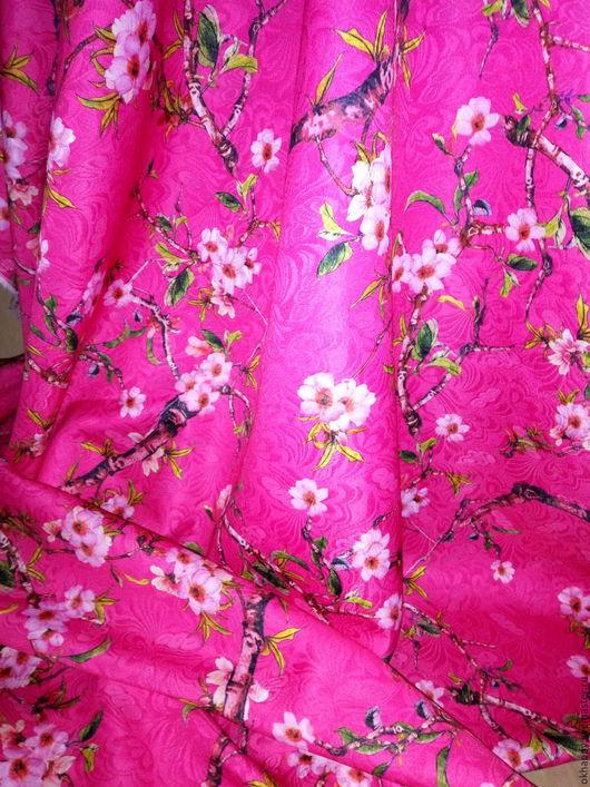 """Шитье ручной работы. Ярмарка Мастеров - ручная работа. Купить Жаккард """"Сакура"""" розовый.. Handmade. Фуксия, розовая ткань фуксия"""