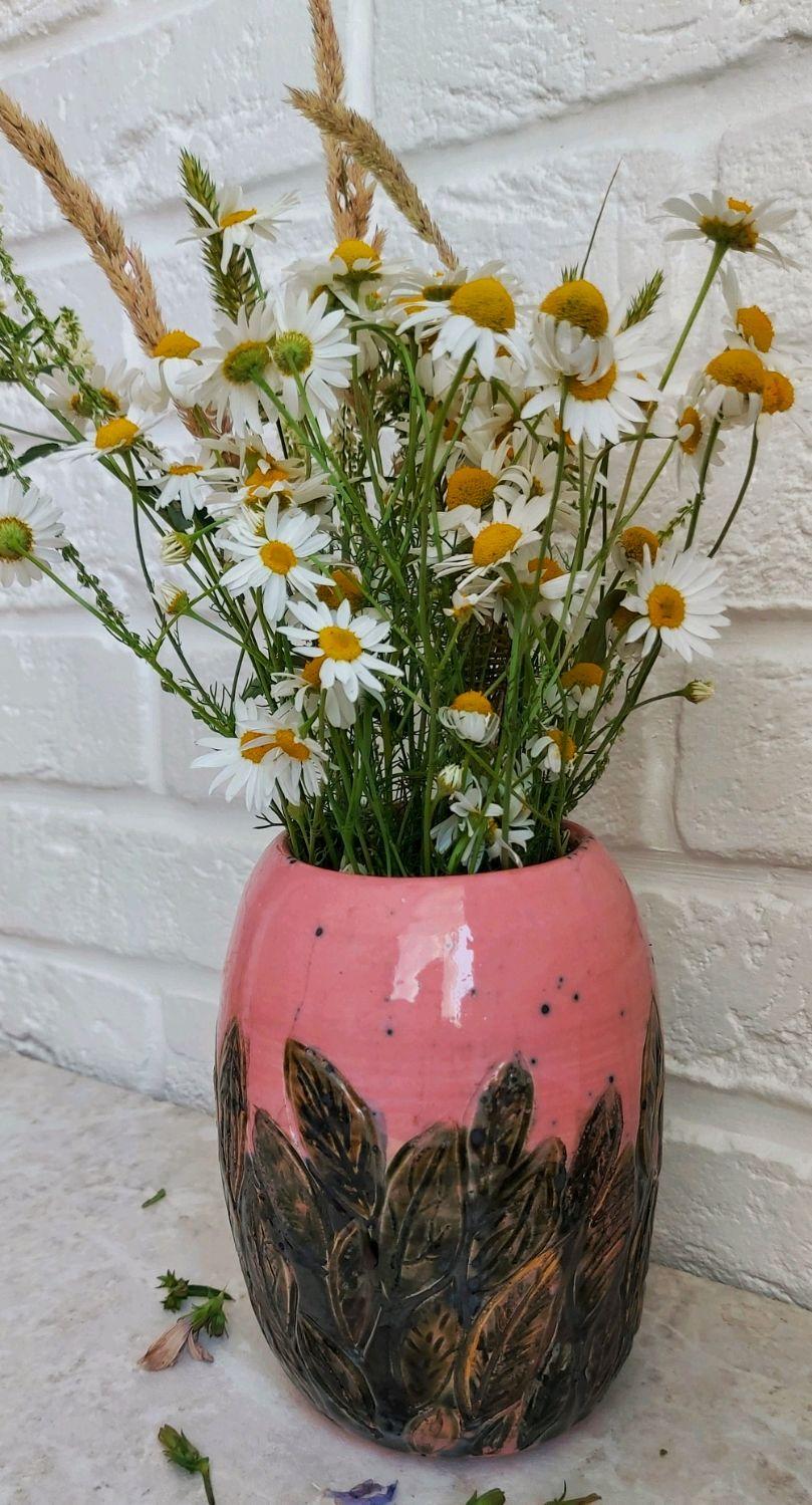 Керамическая ваза розовая с зелёными листьями, Вазы, Москва,  Фото №1