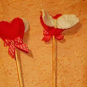 """Подарки к праздникам ручной работы. Ярмарка Мастеров - ручная работа Фетровые штекеры""""Сердечки"""". Handmade."""