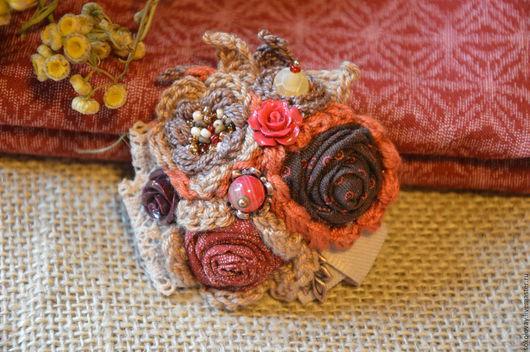 Броши ручной работы. Ярмарка Мастеров - ручная работа. Купить Брошь текстильная Шелест листьев. Handmade. Брошь, брошь-цветок