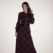 Одежда ручной работы. Ярмарка Мастеров - ручная работа 022:теплое платье в пол, длинное платье в клетку, платье макси. Handmade.