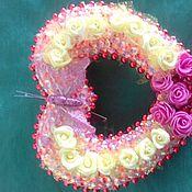 """Подарки к праздникам ручной работы. Ярмарка Мастеров - ручная работа """"ледяное сердце""""с бабочками и цветами. Handmade."""