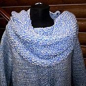 Одежда ручной работы. Ярмарка Мастеров - ручная работа Кардиган с шарфом-капюшоном небесно-голубого цвета. Handmade.