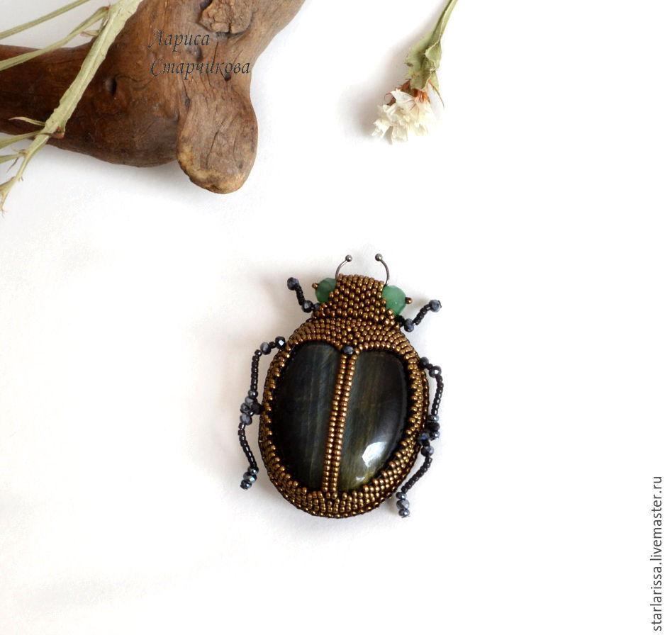 брошь-жук из соколиного глаза, Броши, Алматы, Фото №1