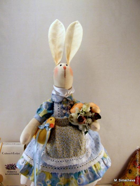Игрушки животные, ручной работы. Ярмарка Мастеров - ручная работа. Купить Зайка с уточкой. Handmade. Заяц, текстильная игрушка, дублерин