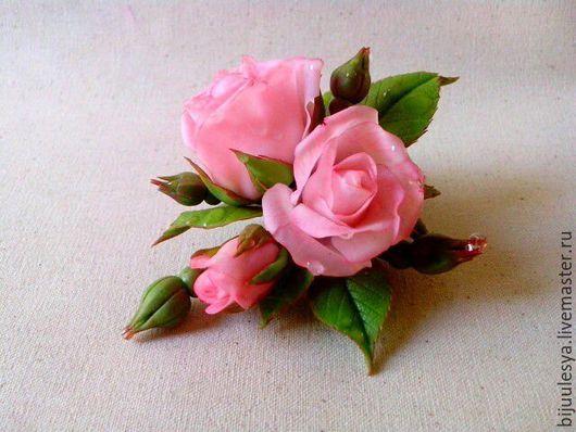 Броши ручной работы. Ярмарка Мастеров - ручная работа. Купить Брошь с розами. Handmade. Розовый, цветы ручной работы
