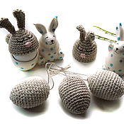 Сувениры и подарки handmade. Livemaster - original item Easter set: knitted bunny hats for eggs and eggs in rustic style. Handmade.