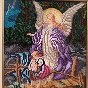 Картины и панно ручной работы. Ярмарка Мастеров - ручная работа Икона бисером. Ангел Хранитель. Handmade.