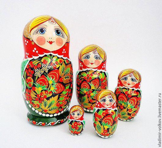 Матрешки ручной работы. Ярмарка Мастеров - ручная работа. Купить Матрешка роспись под хохлому, деревянная игрушка. Handmade.