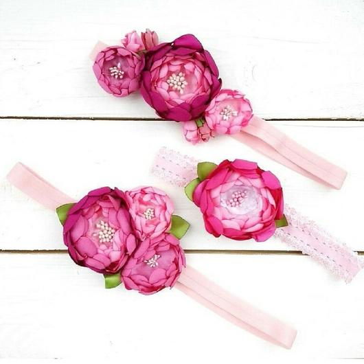 Детская бижутерия ручной работы. Ярмарка Мастеров - ручная работа. Купить Повязка для волос Розовые цветы. Handmade. Розовый