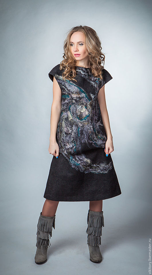 """Платья ручной работы. Ярмарка Мастеров - ручная работа. Купить Валяное платье """"Ты - вселенная"""". Handmade. Черный"""