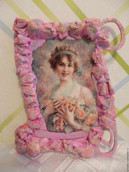"""Люди, ручной работы. Ярмарка Мастеров - ручная работа. Купить Панно """"Девушка в цветах"""". Handmade. Розовый, картина с цветами, подарок"""