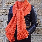"""Аксессуары ручной работы. Ярмарка Мастеров - ручная работа Вязаный спицами шарф """"Пламенный привет"""". Handmade."""