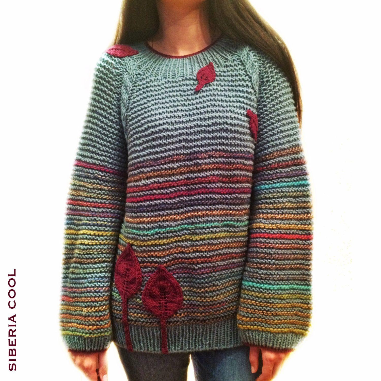 свитер женский заморозки вязаный лазурный бордовый листья