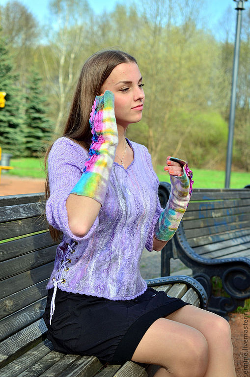 """Кофты и свитера ручной работы. Ярмарка Мастеров - ручная работа. Купить валяный свитерок """"Lilac spring"""". Handmade. Бледно-сиреневый"""