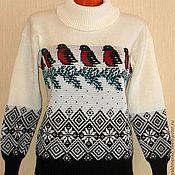 Одежда ручной работы. Ярмарка Мастеров - ручная работа Вязаный свитер Снегири. Handmade.