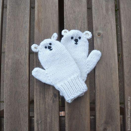 Варежки, митенки, перчатки ручной работы. Ярмарка Мастеров - ручная работа. Купить Варежки для детей Полярный мишка, варежки вязаные, варежки детские. Handmade.