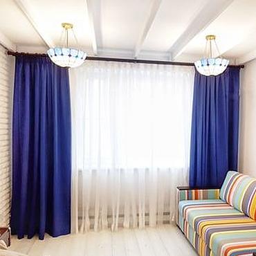 Для дома и интерьера ручной работы. Ярмарка Мастеров - ручная работа Синие шторы с белым тюлем в полоску. Handmade.