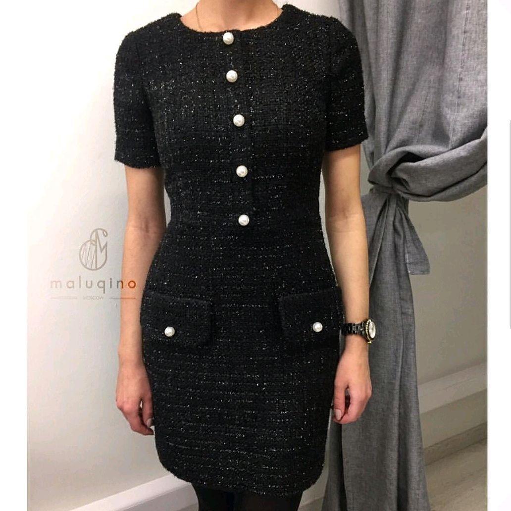 Платья ручной работы. Ярмарка Мастеров - ручная работа. Купить Платье из твида черное с жемчужными бусинами. Handmade. Пошив на заказ
