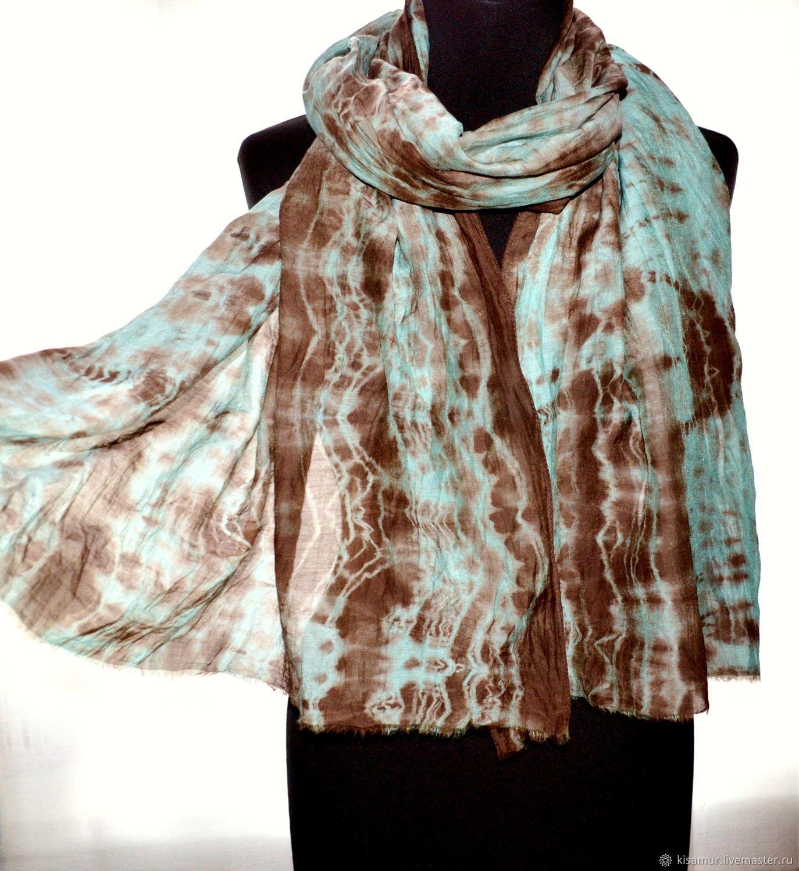 Scarf made of fabric cotton with silk brown mint Shibori batik, Scarves, Vyazma,  Фото №1