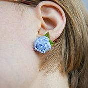 Украшения handmade. Livemaster - original item Blue peony stud earrings, polymer clay, sky blue. Handmade.