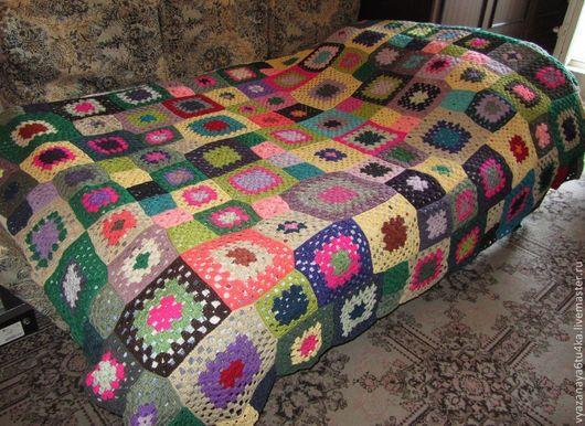 """Текстиль, ковры ручной работы. Ярмарка Мастеров - ручная работа. Купить Покрывало """"Квадратик"""". Handmade. Покрывало, плед вязаный, шерсть"""