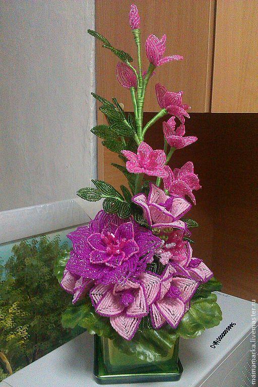 """Искусственные растения ручной работы. Ярмарка Мастеров - ручная работа. Купить Цветы из бисера композиция """"Счастье"""" в розовых тонах. Handmade."""