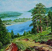 """Картины и панно handmade. Livemaster - original item Картина,масло.""""Пейзаж с лесом и рекой""""День как день. Handmade."""