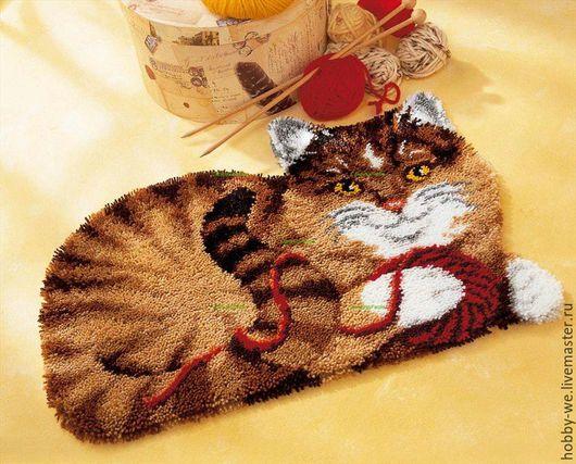 Вышивка ручной работы. Ярмарка Мастеров - ручная работа. Купить Набор для изготовления коврика Кошка с клубком, Vervaco. Handmade. Коричневый