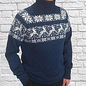 Одежда ручной работы. Ярмарка Мастеров - ручная работа Свитер мужской вязаный шерстяной свитер с орнаментом. Handmade.