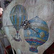 """Для дома и интерьера ручной работы. Ярмарка Мастеров - ручная работа Часы """"На большом воздушном шаре..."""". Handmade."""
