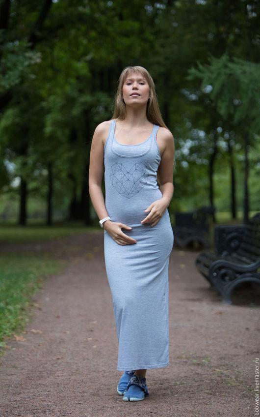 """Для будущих и молодых мам ручной работы. Ярмарка Мастеров - ручная работа. Купить Платье для кормления """"Сердце"""". Handmade. Серый"""